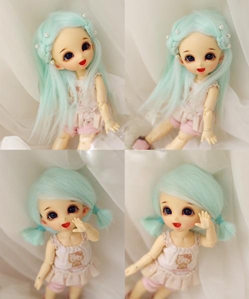 "4/""-5/""12cm BJD fabric fur wig water pink For AE PukiFee Bjd 1//12Doll Antiskid wig"