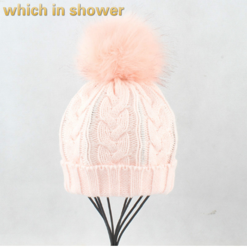Artificial Fox Fur Pompom Winter   Skullies     Beanie   For Women Girl Spring Autumn Faux Fur Pompon Cable Knit Hat Female Cap Bonnet