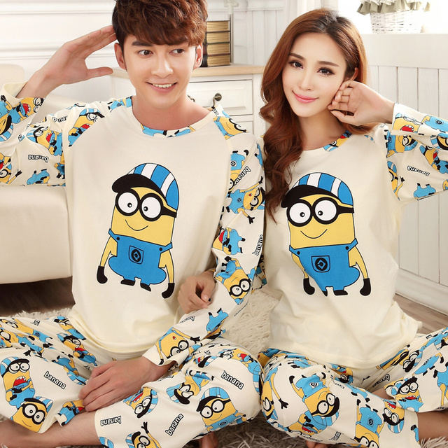 NEW Winter Minions Couple Pajama Sets Adult Onesie Pyjamas For Women/Men/Female Adult Cotton Sleepwear Cartoon cute Pajamas