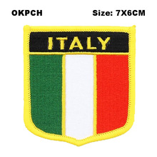 Italy Flag embroidery patches iron on transfer patches set sewing applications for clothes