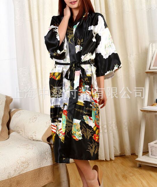 Preto Faux seda das mulheres Robe vestido Kimono banho pijamas tamanho sml XL XXL