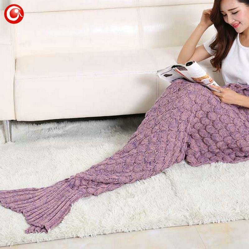 Baby Knitted Crochet Mermaid Blanket For Mother&Baby Infant Newborn Handmade Bed Wrap Throw Sleeping Bag Soft (4)