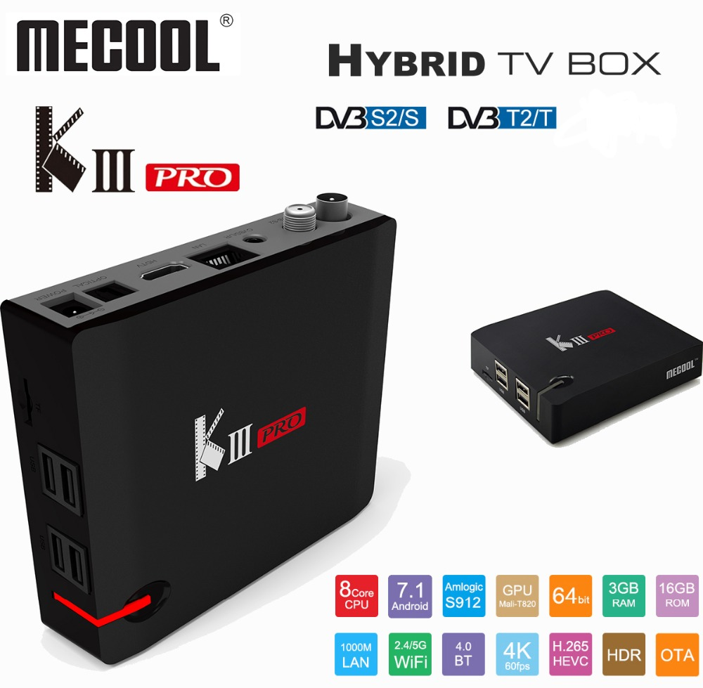 US $98 52 39% OFF|MECOOL KIII PRO Satellite Receiver Android TV Box Amlogic  S912 Octa Core DVB T2 DVB S2 4K 64bit 2 4G Media Player Hybrid TV Box-in