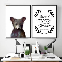 Modern Hand-painted Cartoon Cute Bear Poster Letter Canvas Painting Print Picture Home Wall Art Decoration Can Be Customized(China)