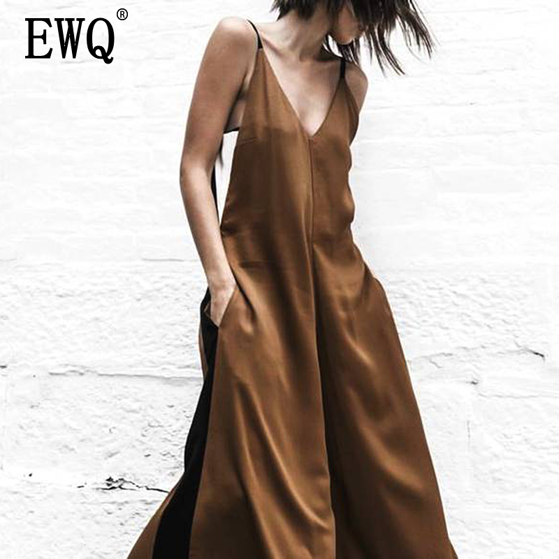 [EWQ] Eroupean Spring Fashion 2020 V-neck Strapless Contrast Color Sexy Women Wide Legs High Streest Female Clothes WB180