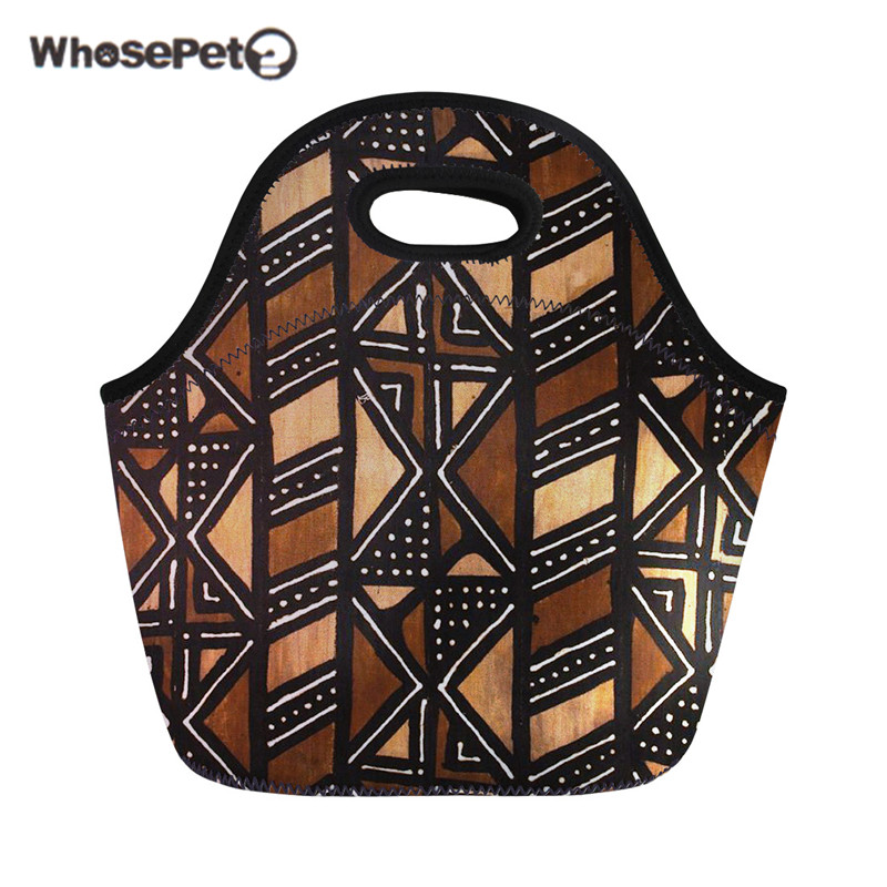 WHOSEPET Insulated Thermal Food Bag For Kids Girls Boys African Style Women Neoprene Lunch Bags Handbag Bolsa Termica Wholesale