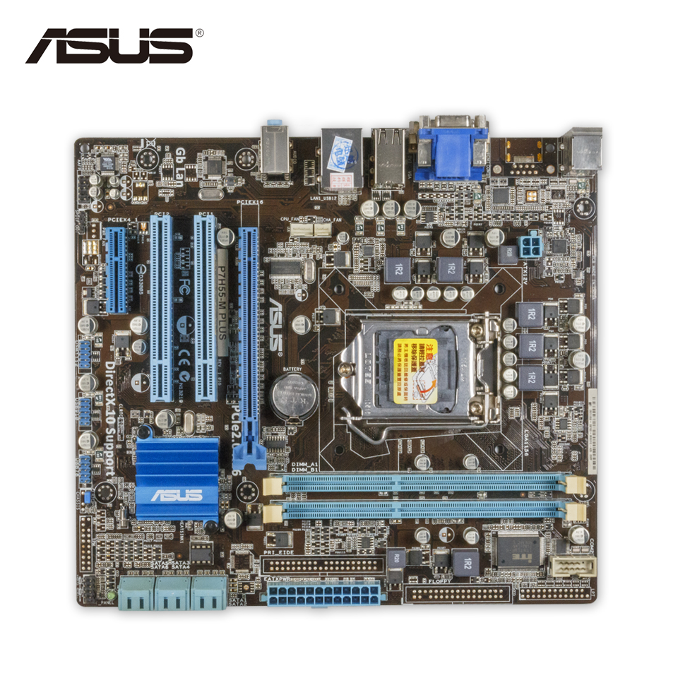 Asus P7H55-M PLUS Desktop Motherboard H55 Socket LGA 1156 i3 i5 i7 DDR3 8G DVI VGA uATX On Sale asus p8h67 m lx desktop motherboard h67 socket lga 1155 i3 i5 i7 ddr3 16g uatx on sale