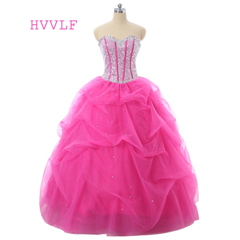 Fuchsia Quinceanera Dresses 2019 Ball Gown Sweetheart Floor Length Tulle Sequins Crystals Sparkle Cheap Sweet 16 Dresses