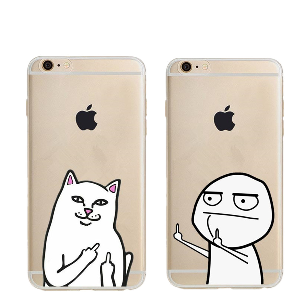 Fashion Bad Middle Finger Phone Case For iPhone 5 5s SE 6s Plus 7 7Plus 8 8Plus Hard PC Funny Ca tCover For Apple iPhone X Coque ...