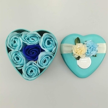 Heart Shaped Flower Box With Plush Bear and Soap Roses