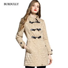BURDULLY Autumn Winter Horn Buckle Woman Long Sustans Slim Lapel Coat Female 2019 New Cotton Polyester England Style Argyle