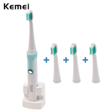 Sonic Waterproof Health Rechargeable Electric Toothbrush w/ 4pcs Tooth Brush Heads Oral Hygiene Dental Care DCU13GQ-0.5WY