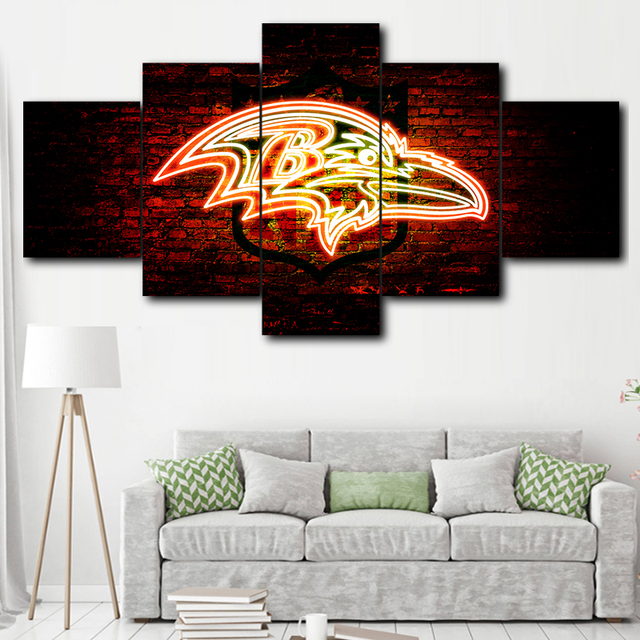5 Panel Baltimore Ravens Sport Logo Painting Canvas Wall Art Picture Home Decor Living Room