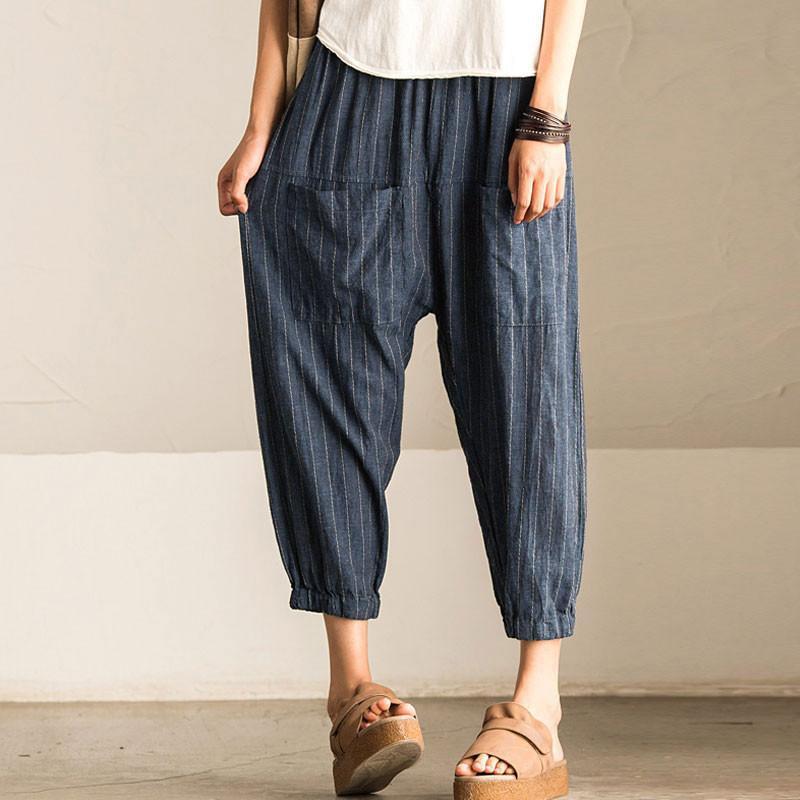 2018 SCHMICKER Women Casual Work Office High Elastic Waist Pockets Striped Baggy Harem Pants Turnip Trousers Wide Leg Pantalon