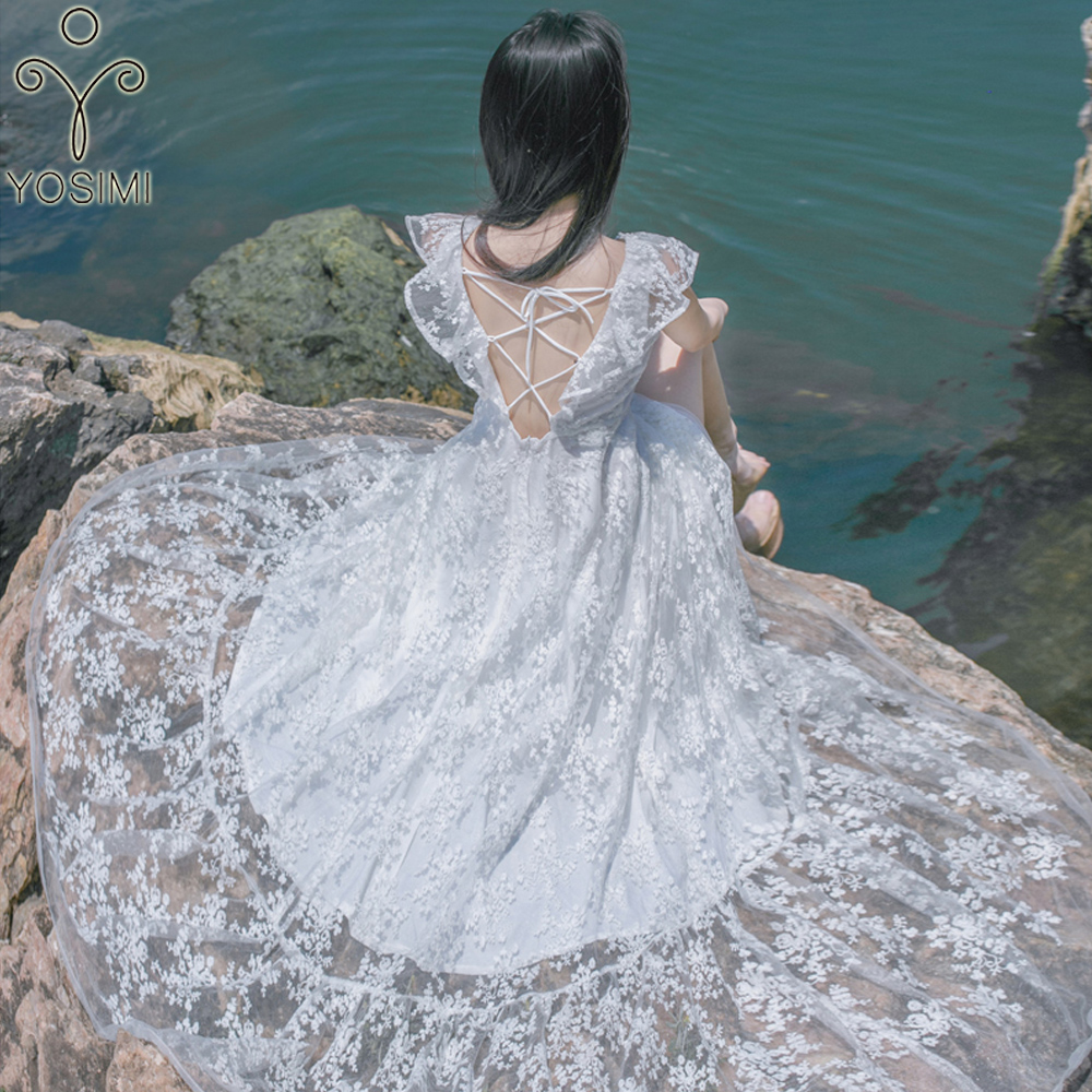 YOSIMI 2019 Summer Maxi Elegant White Lace Sexy Long Women Dress Blackless Off The Shoulder Beach Long Evening Party Sleeveless