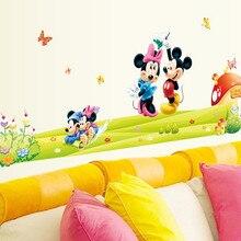 Съемный ПВХ мультяшный Минни и Микки мышь Наклейка на стену для детской комнаты детская Настенная Наклейка s Наклейка для спальни арт обои
