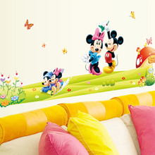 Hot sale Removable PVC cartoon Minnie&mickey mouse home decor nursery wall stickers for kids room decal bedroom art wallpaper