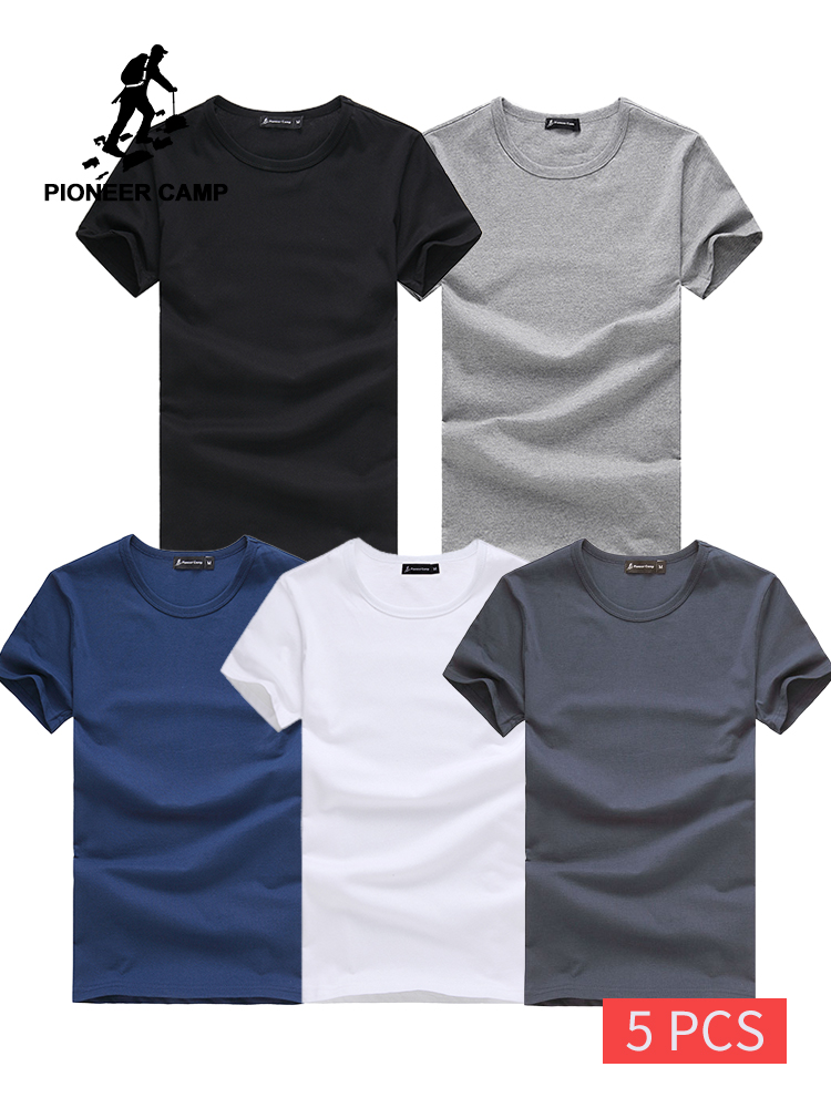 Pioneer Camp 5pcs Simple Tshirt Creative Design Line Solid 100% Cotton T Shirts Men's New Arrival Short Sleeve Men T-shirt 2019