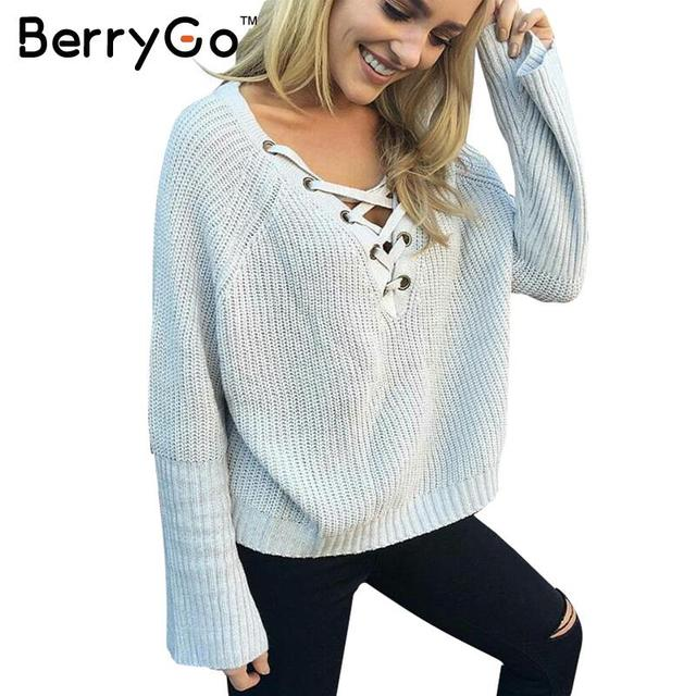 BerryGo Flare sleeve knitted sweater women 2016 Lace up V neck pullover Sexy pink jumpers Casual loose split knitwear outwear