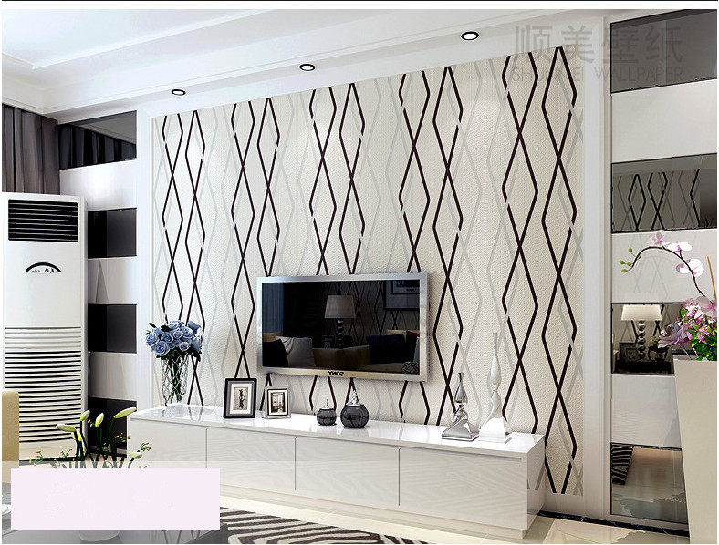 Modern Simple Living Room TV Background Video Wallpaper 3D Stereo Striped Non