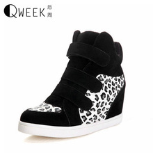 QWEEK Women font b Boots b font Height Increase Wedges Pu Leather Casual Shoes font b