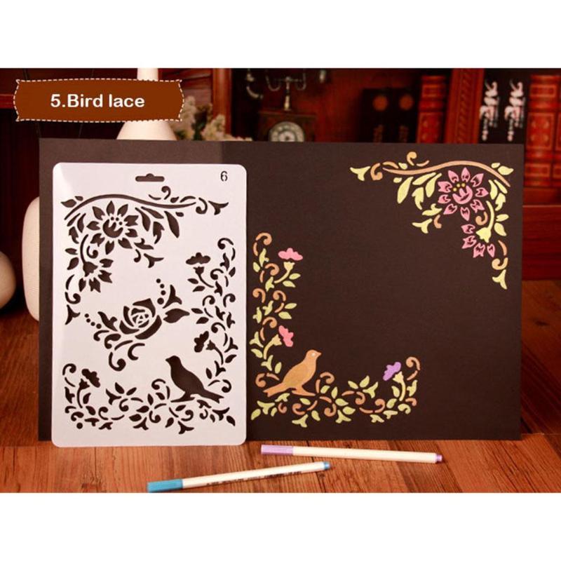 Bird Flower Lace Hollow Plastic Pochoir Templates DIY Scrapbooking Photo Album Decorative Card Stationery Carft Tools Stencils