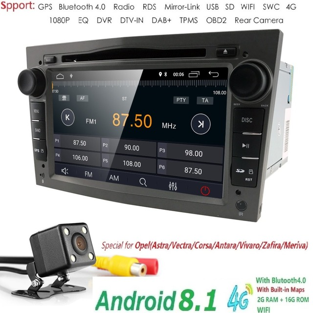 Android8.1 2DIN DVD GPS for Vauxhall Opel Astra H G J Vectra Antara Zafira Corsa Multimedia screen car radio stereo audio 4GWIFI