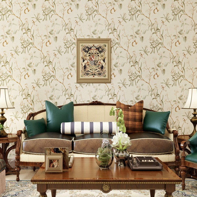 Free shipping american style wallpaper retro old apple for Tree wallpaper living room