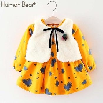 Humor Bear Baby Girl Clothes  Winter Baby Girls Princess Dress Long sleeve dress Party Dresses