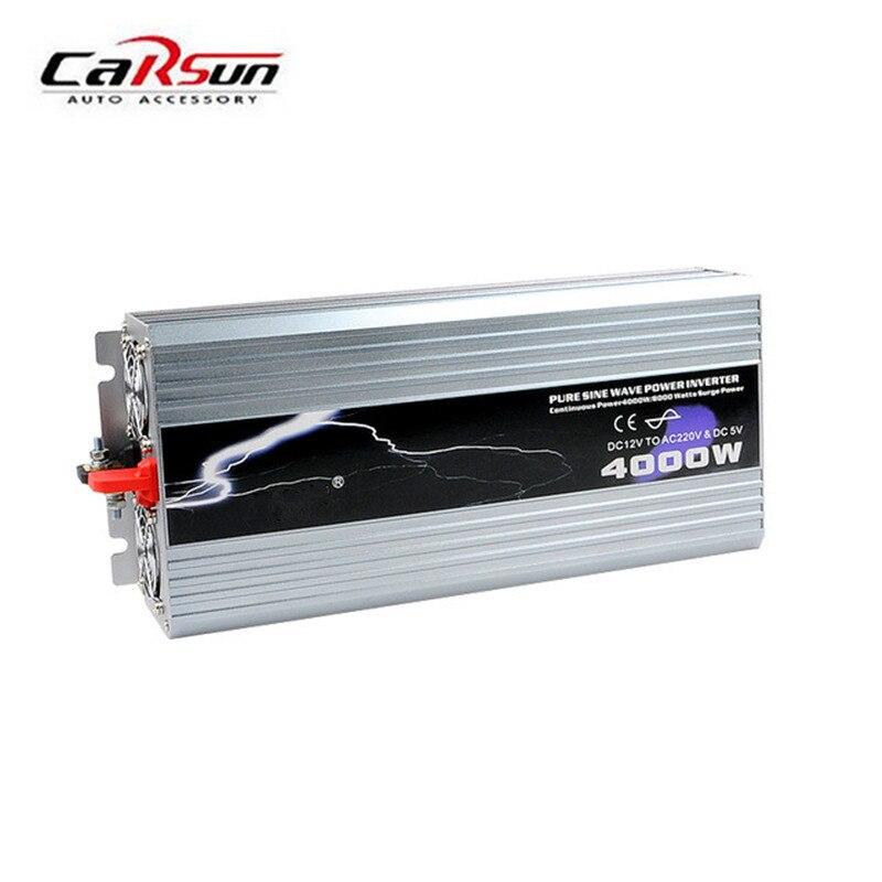 4000 W Power Inverter Onde sinusoïdale Pure 12 V/24 V/48 V DC à 110 V/220 V AC Convertisseur Voiture onduleurs Adaptateur Avec L'emballage de Détail