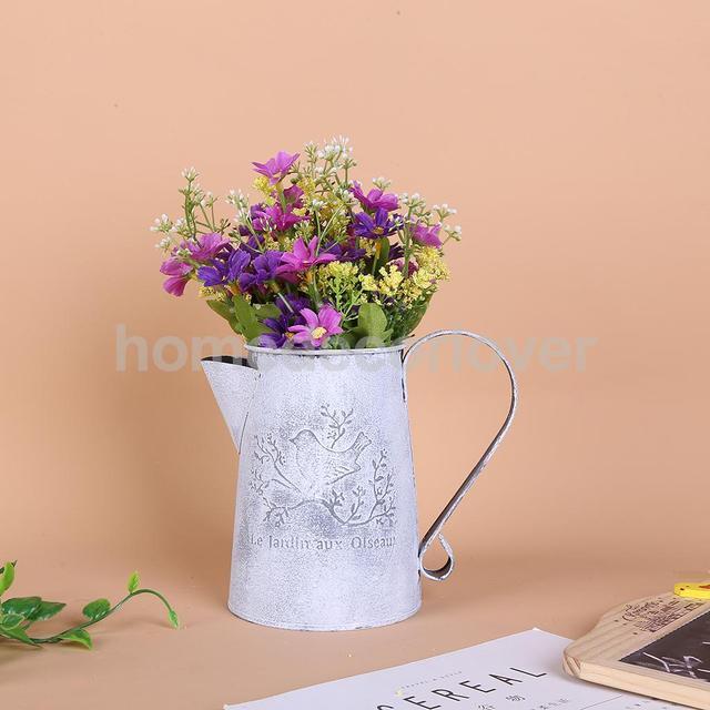 Shabby Chic Country Vintage Metal Jug Vase Flower Pitcher Wedding
