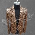 Traje de leopardo Del Club Nocturno de moda capa de la edición de han de pequeño traje de los hombres cultivan su moralidad, trajes del cantante de noche