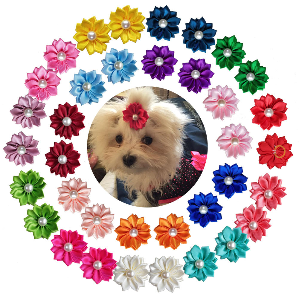 New 100pcs Pet Hair Remover Hand-made Exquisite Pet Supplies Pearls Pet Hair Accessories Bright Fashion Pet Dog Hair Bows