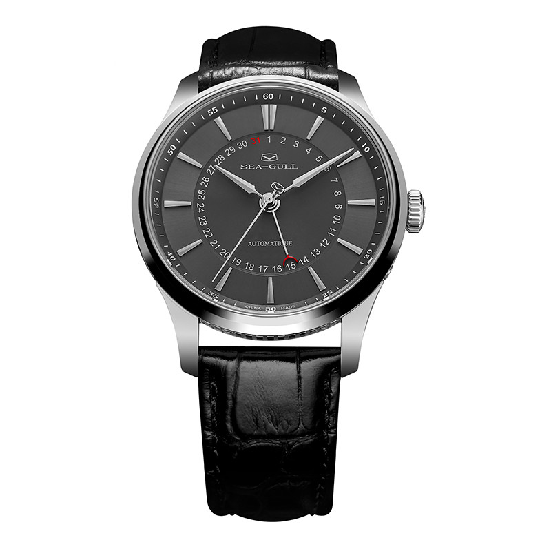 Seagull Pointer Date Sapphire Crystal Case Back ST21 Movement Automatic Dress Watch Black White Dial 1001