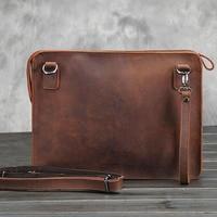 iPad Leather crazy horse Male business leather shoulder bag briefcase The envelope bag restoring ancient ways Real leather bag