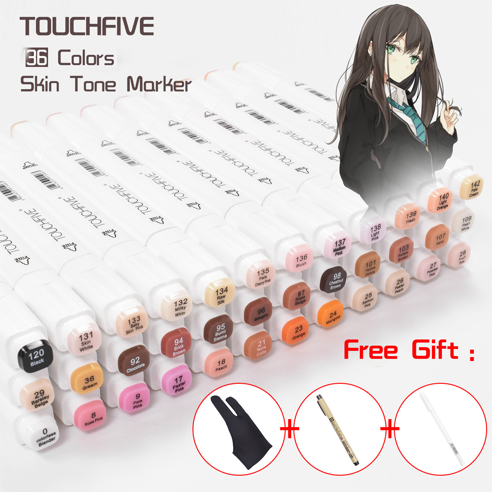 TOUCHNEW 36 Colors Skin Tones Sketch Markers Double Headed Alcohol Based Markers Art Supplies for Manga Portrait Drawing 3 Gifts