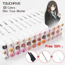 Touchnew 36 cores tons de pele marcadores esboço duplo cabeça álcool baseado marcadores suprimentos arte para manga retrato desenho 3 presentes