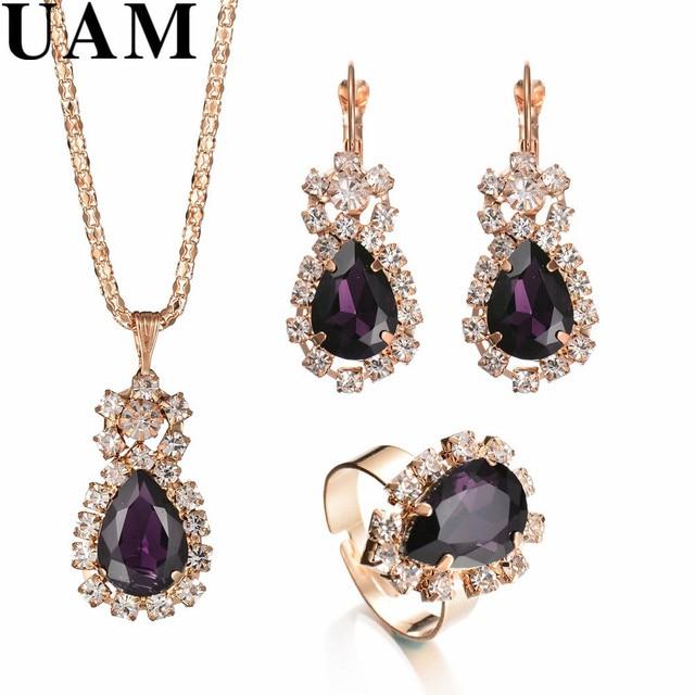 אופנה מתנה לחתונה תכשיטי זהב צבע מים Drop צורת קריסטל עגילי שרשרת מתכוונן טבעות סט נשים תכשיטי סטים
