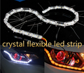 De Cristal de alta Potência Universal Flexível Car LED DRL Daytime Running Luz com Sinal de Volta Amarelo Luz Branca Carro 8LED
