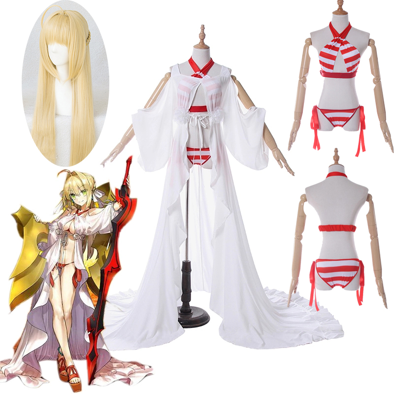 Fate Grand Order Nero Claudius Caesar Augustus Swimsuit Cosplay Costume Sexy Bikini Fate/Extra Saber Cosplay Costume Swimwear