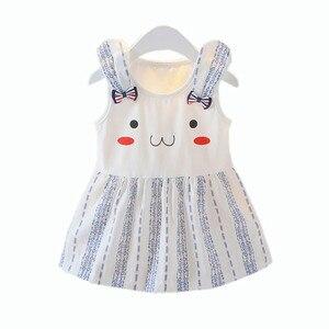 Летнее платье для новорожденных, платье принцессы для маленьких девочек, одежда для вечеринки, свадьбы, с бантом из мультфильма «кролик», ...