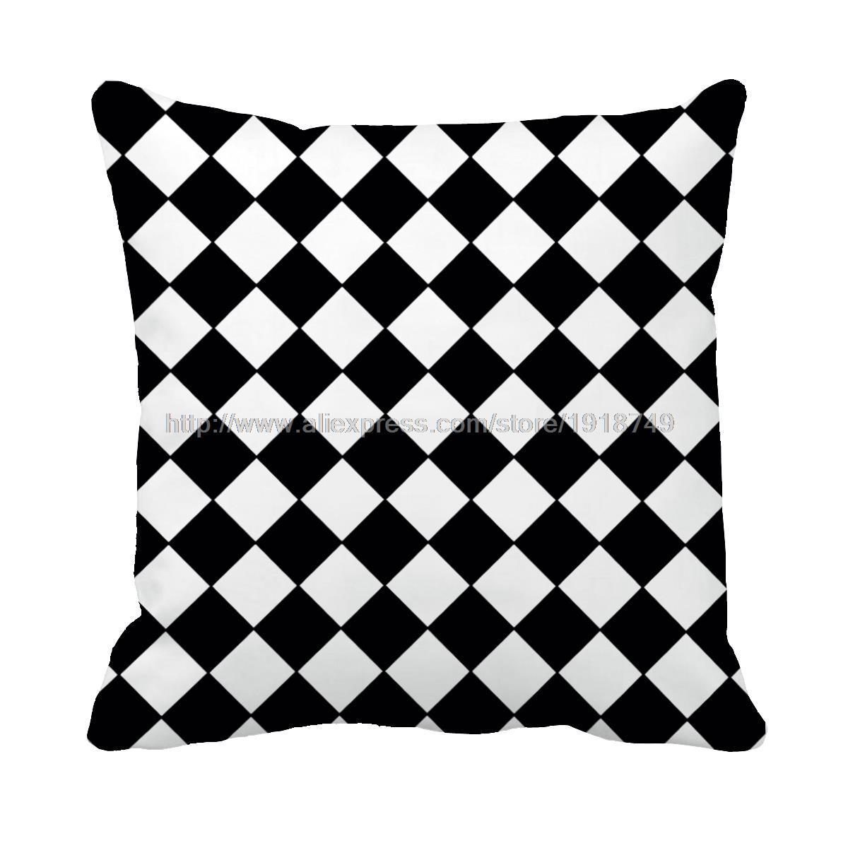 black and white Houndstooth printed decorative geometric throw pillow case sofa decor modern cushion cover