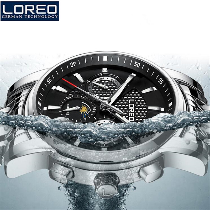 LOREO Famous Brand Luxury Fashion Vintage Steel Stainless Black Dial Men Mechanical Skeleton Watch For Men Wristwatch K54 chip resetter for canon pf 04 printhead reset canon ipf lfp series new