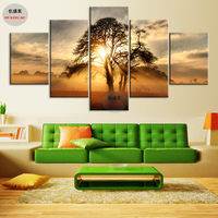 5 Panel Canvas Painting HD Print Sunset Tree Picture Cuadros Decoracion Wall Pictures For Living Room