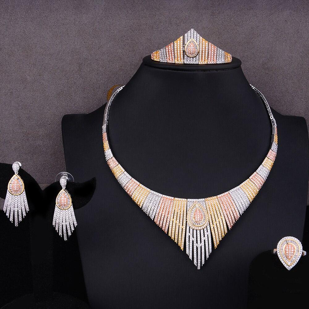 SisCathy célèbre marque de luxe couronne reine nigérian Dubai ensembles de bijoux pour les femmes cubique Zircon mariage bijoux de mariée ensembles 4 pièces