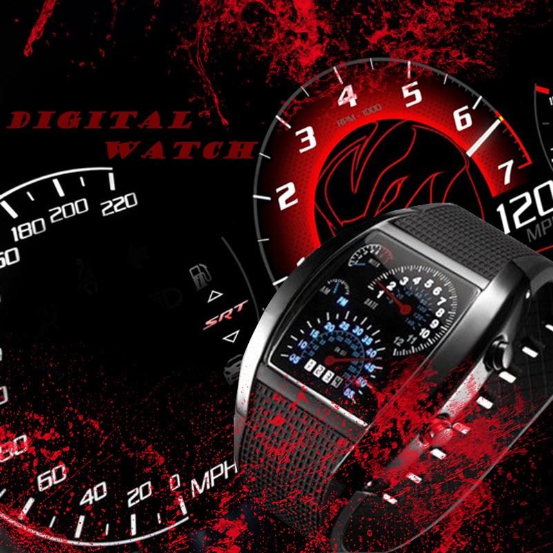 66bf02924e Nuevo LED reloj hombres moda Venta caliente 7 colores silicona medidor Dial  deporte Digital diseño de lujo horas reloj relogio masculino