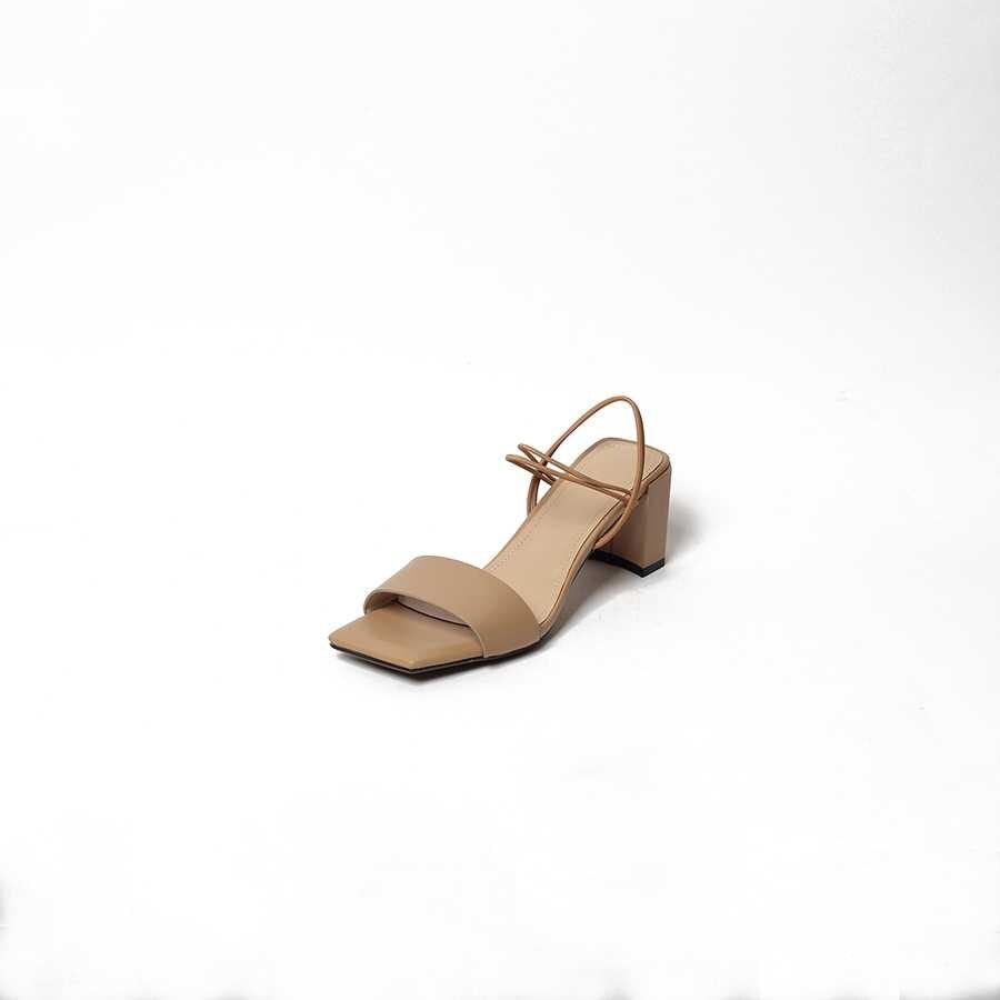 Européenne Mode Sandales Slip Talons Naturel Toe L78 apricot Designer Hauts Femmes Parti Concise Peep Lenkisen Chocolat Carré Rétro En Cuir Sur Haute a8qFBOw