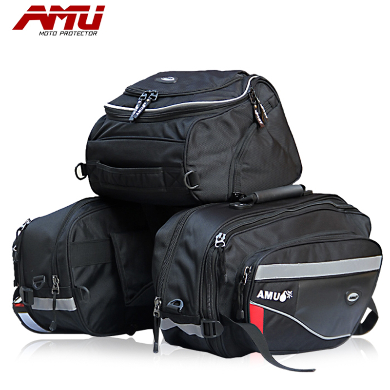 BRAND AMU Motorcycle Saddle Bags Motorbike Rear Edging bag Motocross Helmet Bag Knight Rain Tail Luggage