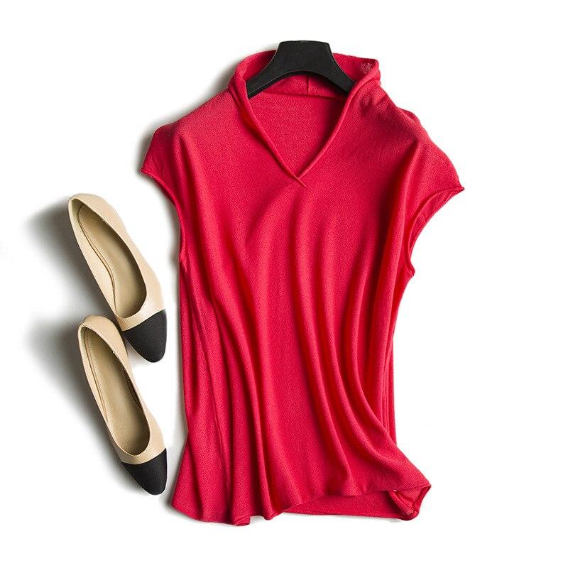 Knitting T shirt new summer 2019 women s ultra comfortable knitted turtleneck V collar sleeveless T