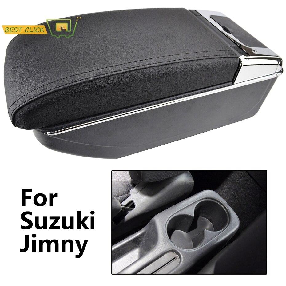 Caja de almacenamiento con reposabrazos de cuero para Suzuki Jimny 2000-2017, doble brazo, 2005, 2007, 2009, 2011, 2013, 2015